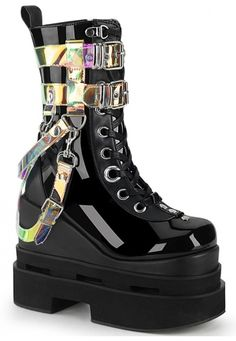 Black patent vegan leather mid-calf boot with lace up front, iridescent harness and hanging straps and triple tiered platform sole. Kawaii Shoes, Kawaii Clothes, Aesthetic Shoes, Aesthetic Clothes, Goth Shoes, Shoes Heels, Mein Style, Grunge Outfits, Scene Outfits