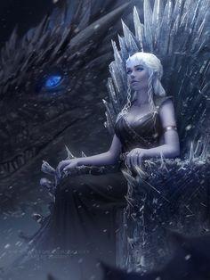 Mother of dragons daenerys targaryen: got fan art (digital art by zarory) Dessin Game Of Thrones, Game Of Thrones Artwork, Queen Art, Ice Queen, Fantasy Queen, Fantasy Art, Girls Characters, Fantasy Characters, Daenerys Targaryen Art