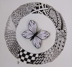 unknown artist, zentangle + quilled butterfly