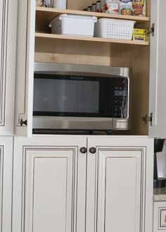 The NEW Cottage Home Before and After Kitchen Makeover. This Kitchen is AMAZING! Microwave in a cabinet. Great idea!