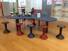 VS Hokki Stools around Puzzle Table.  Puzzle tables next and are much more fun than the old horseshoe table. www.worthingtoncf.com