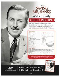 Learn how to make Walt Disney& Family Chili Recipe! Retro Recipes, Old Recipes, Vintage Recipes, Chili Recipes, Copycat Recipes, Cooking Recipes, Recipies, Cooking Ideas, Disney Food Recipes
