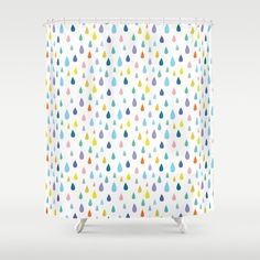 Dainty Home Raindrops Plastic Shower Curtain 13 Piece Set