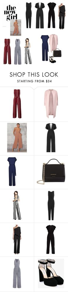 """""""Jumpsuits"""" by bymarcedias on Polyvore featuring Tenki, Diane Von Furstenberg, Givenchy, GUESS, Halston Heritage, Tory Burch and Jimmy Choo"""