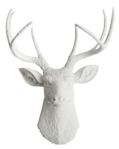 8 Point Buck White Deer Head Mount Wall Hanging- love it!