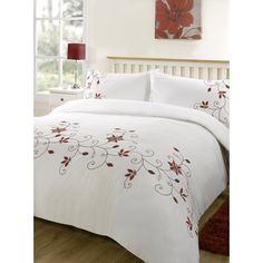 Barton Red Embroidered Duvet and pillowcase set