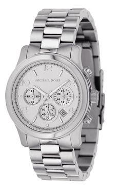 Michael Kors MK5076 Women's Stainless Steel Quartz Chronograph Silver Tone Dial Watch