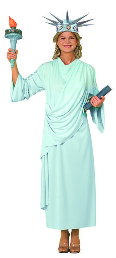 Miss Statue Of Liberty Independence Shirt Crown Torch Attire Costume Adult Women