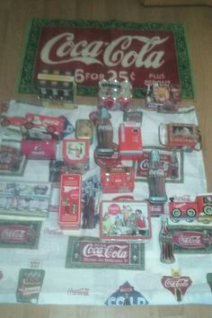 Authentic Coca Cola Bath Rug Shower Curtain Lunch Box Tin Lot Sale Collection