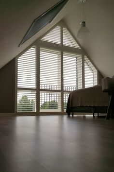 home - Devo Shutters Curtains For Arched Windows, Bedroom Windows, Curtains With Blinds, Beach House Bedroom, Bedroom Loft, Home Bedroom, Loft Conversion Plans, Inside A House, Gable Window