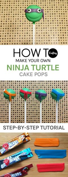 Learn how to make Teenage Mutant Ninja Turtle cake pops that will be a huge hit at any kid's (or kid at heart's) birthday party! Ninja Turtle Cake Pops, Ninja Turtle Cookies, Ninja Turtle Birthday Cake, Turtle Birthday Parties, Ninja Turtles, 5th Birthday, Birthday Ideas, Diy Ninja Turtle Party, Prince Birthday