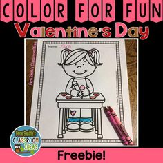 One FREE Color For Fun Printable Coloring Page For St. Valentine's Day Fun At School! This Color For Fun Freebie is Perfect for Valentine's Day! #FernSmithsClassroomIdeas Coloring Pages | Coloring Book | Valentine's Day | Color For Fun
