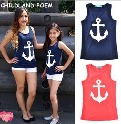 2017 summer family matching clothes sleeveless matching mother and daughter clothes mother daughter outfits cotton family vest