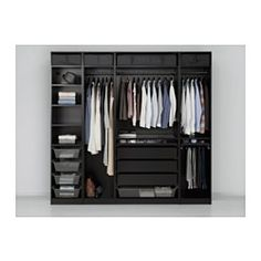 Complete your closet with IKEA's PAX wardrobe system without doors featured in many sizes and combinations, create an attractive display of your belongings. Ikea Pax Closet, Bedroom Closet Doors, Bedroom Cupboards, Bedroom Wardrobe, Walk In Wardrobe, Wardrobe Design, Walk In Closet, Capsule Wardrobe, Wardrobe Systems