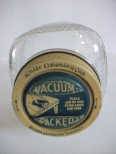 Vintage square glass coffee jar lid reads: Vacuum Packed Knife opening cap keeps contents fresher Place jar on side Slide knife and turn.Not my jar, but the lid is the same, except mine is red. Vintage Jars, Vintage Decor, Coffee Jars, Jar Lids, Contents, Vacuums, Cap, Fruit, Antiques