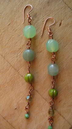 Long Beaded Earrings in Green, Teal, and Copper!!