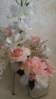 Wedding Centerpiece. Wedding shower gift. Find at Etsy.com/shop/AlwaysInBloomFloral Floral Shoes, Floral Flowers, Paper Flowers, Floral Wreath, Shoe Crafts, Diy Crafts Hacks, Bachelorette Decorations, Valentine Decorations, Creative Flower Arrangements