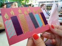 Great Birthdaycard or Christmascard idea with masking tape! or washi tape! super cute!!