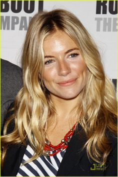 Sienna Miller - long, wavy hair with middle part