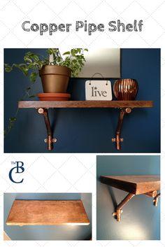 Unique wall decor: Copper Pipe Shelf with birch wood and copper pipe brackets. Copper Bedroom, Shelves, Industrial Bookcases, Copper Shelving, Kitchen Wall Colors, Home Decor, Bookcase Diy, Shelf Decor, Bookcase Design