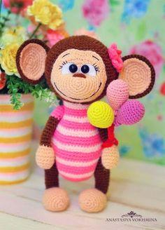 Мартышка Сьюзи.Описание вязания игрушки.Автор: Анастасия Вохмина. Необходимые материалы:· Пряжа коричневого, бежевого, розового и светло-розового цветов.· Крючок подходящего размера.·
