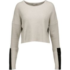 Autumn Cashmere - Cropped Pony Hair-trimmed Ribbed-knit Sweater (1.792.920 IDR) ❤ liked on Polyvore featuring tops, sweaters, sweat, beige, striped crop top, white sweater, ribbed knit sweater, white striped sweater and striped top