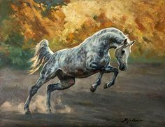 Horse painting by Kolobaev Yaroslav. Love the golden background Beautiful Horse Pictures, Beautiful Horses, Horse Oil Painting, Horse Paintings, Arabian Art, Horse Artwork, Majestic Horse, Horse Drawings, Equine Art