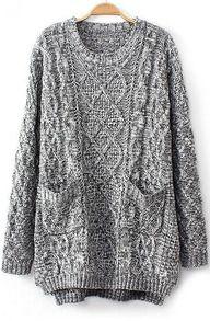 Grey Long Sleeve Cable Knit Pockets Sweater - Sheinside.com