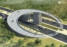 What if instead of creating dangerous crosswalks between several roads, we make a moon bridge? No lights, traffic flows easy, everyone is happy! Bridges Architecture, Landscape Architecture Design, Organic Architecture, Concept Architecture, Futuristic Architecture, Amazing Architecture, Interior Architecture, Entrance Design, Entrance Gates