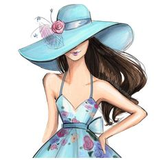 Derby Hat Fashion Illustration Watercolor Print, wall art, gift for her, gift women - Illustration Mignonne, Illustration Sketches, Drawing Sketches, Fashion Art, Girl Fashion, Fashion Design, Girly Drawings, Copic Art, Fashion Sketches