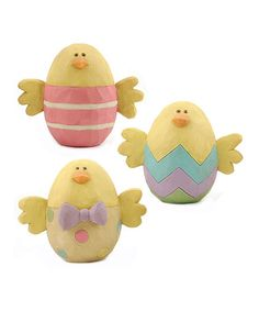 Take a look at this Easter Egg Chick Collectible Set by Blossom Bucket on #zulily today!