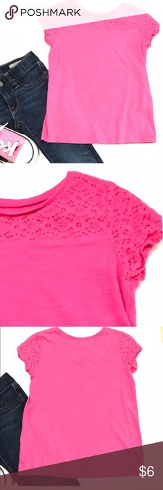Pink girls short sleeve tee shirt by CHEROKEE •Cherokee hot pink short sleeve tee with crochet matching over top 1/4 of shirt •Excellent Used Condition (EUC)  •Size 4T   •I am a: Posh Ambassador, top 10% seller, top rated seller, Posh mentor & ship same day/next day!  ⭐️❤️FREE Matching hair accessory with purchase!❤️⭐️ •Comes from smoke & pet free home •Browse my closet for dozen of amazing designers such as.. tucker + Tate, Tea Collection, Mini Boden, UGG, GAP, Juicy Couture, Lululemon…