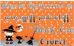 Black Cat Crunch printable baggie toppers, Quick Halloween Treats from @Mandy!