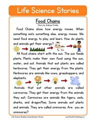 life science stories comprehension food chains