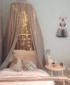 Romantic and cozy bedroom decorating ideas with Canopies, lights and Tapestries.