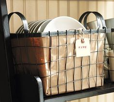 Shop wire baskets from Pottery Barn. Our furniture, home decor and accessories collections feature wire baskets in quality materials and classic styles. Bushel Baskets, Home Office Accessories, Metal Baskets, Decorative Baskets, Wall Organization, Organizing Ideas, Pottery Barn, Wicker, Diy Projects