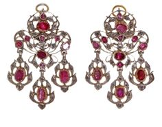 18th Century Ruby and Diamond Earrings and Necklace Demi-Parure | From a unique collection of vintage choker necklaces at http://www.1stdibs.com/jewelry/necklaces/choker-necklaces/