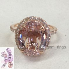 Oval Morganite Engagement Ring Pave Diamond Wedding 14K Rose Gold 10x12mm