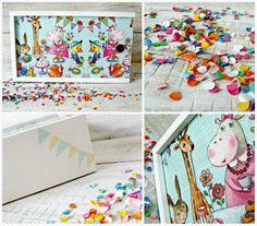 Decoupage for children. Pencil-box by decoupage technique Decoupage Wood, Pencil Boxes, Kids Rugs, Children, Diy, Animals, Home Decor, Young Children, Boys