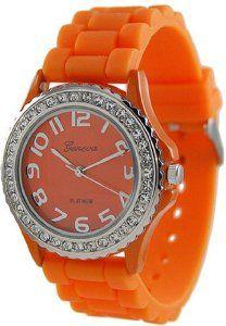 Geneva Platinum Women's 6886.Orange Orange Rubber Quartz Watch with Orange Dial