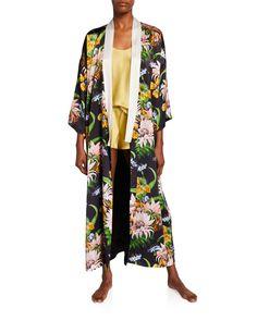 Olivia Von Halle Queenie Tropicana Floral Long Silk Kimono Robe In Black Silk Robe Long, Silk Kimono Robe, Long Kimono, Kimono Top, Silk Charmeuse, Silk Satin, Olivia Von Halle, Contrast Collar, Evening Dresses