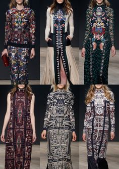 Mary Katrantzou A/W 2014/15-Sophisticated Symmetry - Hyper Tribal Inspired –  Totems Opulence – Applique and Embroidered  - Embroidery-Encrusted Design - Intricate Tribal Inspired Prints – Rich High Contrast Pattern