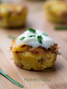 Mashed potato puffs.  Try this with mashed cauliflower?