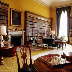 the inviting library at Ragley Hall in Warwickshire, England