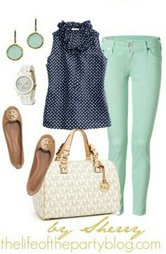 Mint skinny jeans, tan flats, creme purse,  blue polka dot top