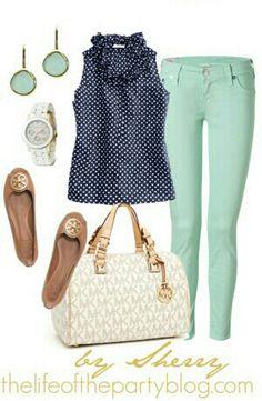 Mint skinny jeans, tan flats, creme purse,  blue polka dot top