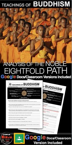 Noble Eightfold Path Analysis teaches students about Buddha's Noble Eightfold Path through the cycle of life and death. Students look at real life scenarios and match them with one of eight practices that Buddhists practice. This can be used in class or as homework as it's a completely stand alone assignment. This is also perfect for substitute teacher plans. A key is included.  #HistoryLessonPlans #Socialstudies #WorldHistoryLessonPlans History Lesson Plans, World History Lessons, Teaching Social Studies, Teaching History, Buddhist Practices, Substitute Teacher, World Religions, Buddhism, Homework