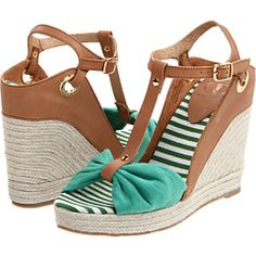 Wedges with bows and stripes
