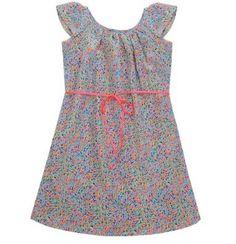 Neon trim floral girls cotton summer dress