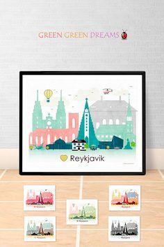 Reykjavik poster print Wall art Reykjavik skyline Reykjavik Iceland City poster Printable download Home Decor Digital Print GreenGreenDreams